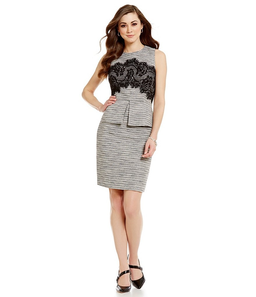 Antonio Melani Billy Crew Neck Sleeveless Tweed & Lace Sheath Dress