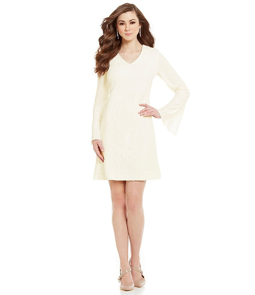 Antonio Melani Joan V-Neck Bell Sleeve Lace Trim Crepe Sheath Dress