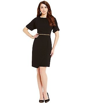 Antonio Melani Fey Stretch Elbow-Sleeve Belted Novelty Sheath Dress