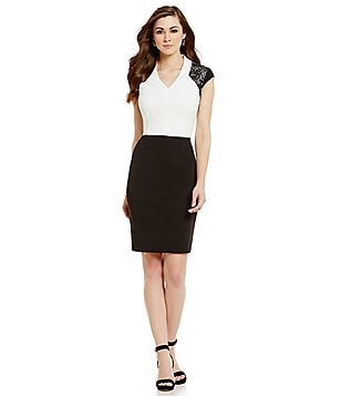 Antonio Melani Yvonne V-Neck Scuba Crepe & Lace Sheath Dress