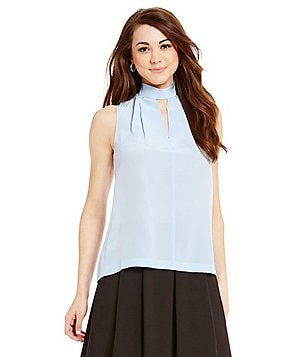 Antonio Melani Hudson Sleeveless Mock Neck Silk Blouse