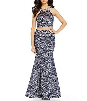 Sequin Hearts Foiled Lace Crop Top to Trumpet Skirt Two-Piece Dress