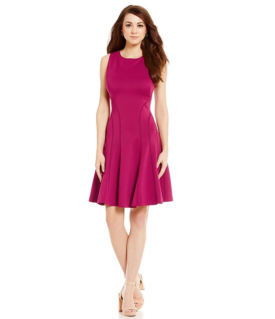 Antonio Melani Kate Scuba Sleeveless Embroidered Trim Dress