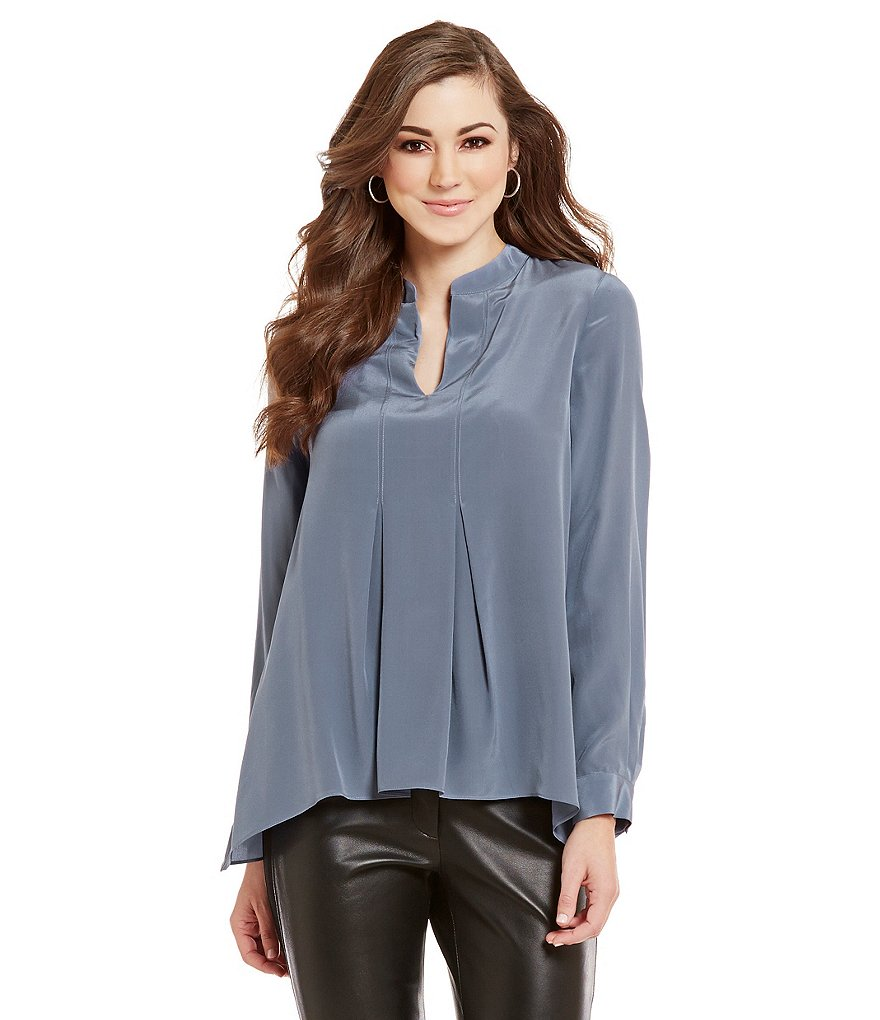 Antonio Melani Jeri Split Neck Long Sleeve Solid Silk Blouse