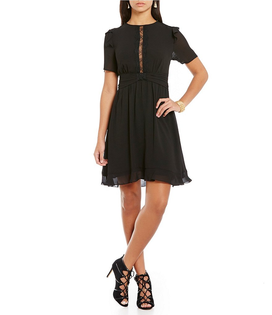 M.S.S.P. A-Line Short Sleeve Crepe Georgette Dress
