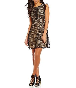 M.S.S.P. Crew Neck Cap Sleeve Medallion Lace A-Line Dress