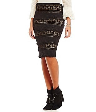 M.S.S.P. Stretch Lace Pencil Skirt