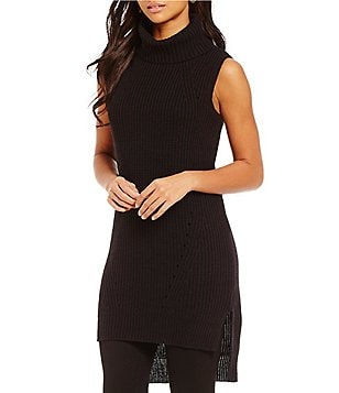M.S.S.P. Mock Neck Sleeveless Solid Long Tunic Sweater