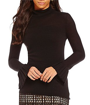 M.S.S.P. Mock Neck Pleated Sleeve Sweater