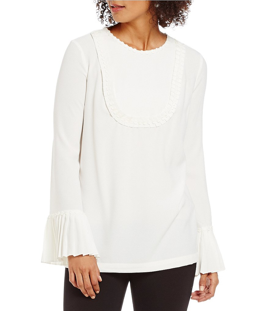 M.S.S.P. Textured Pleated Sleeve Woven Blouse