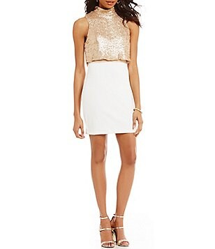 Honey and Rosie Mock Neck Sequin Popover Bodice Dress