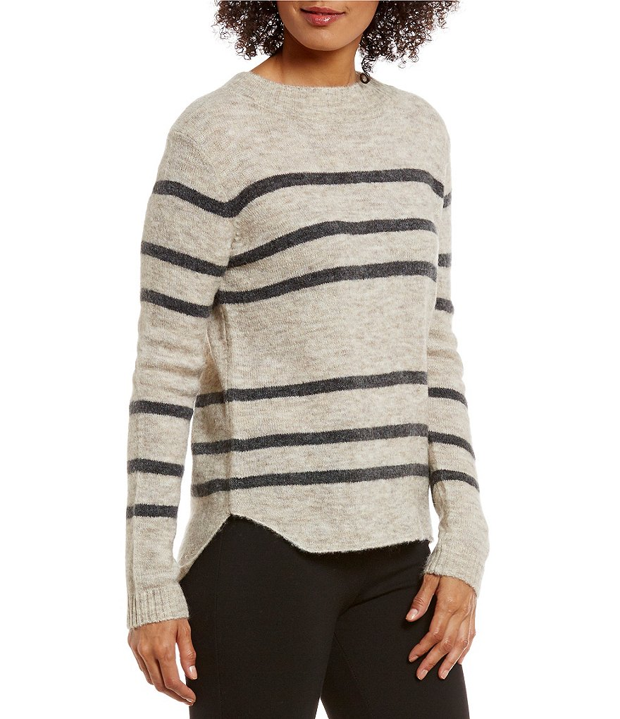 M.S.S.P. Mock Neck Long Sleeve Pullover Striped Sweater