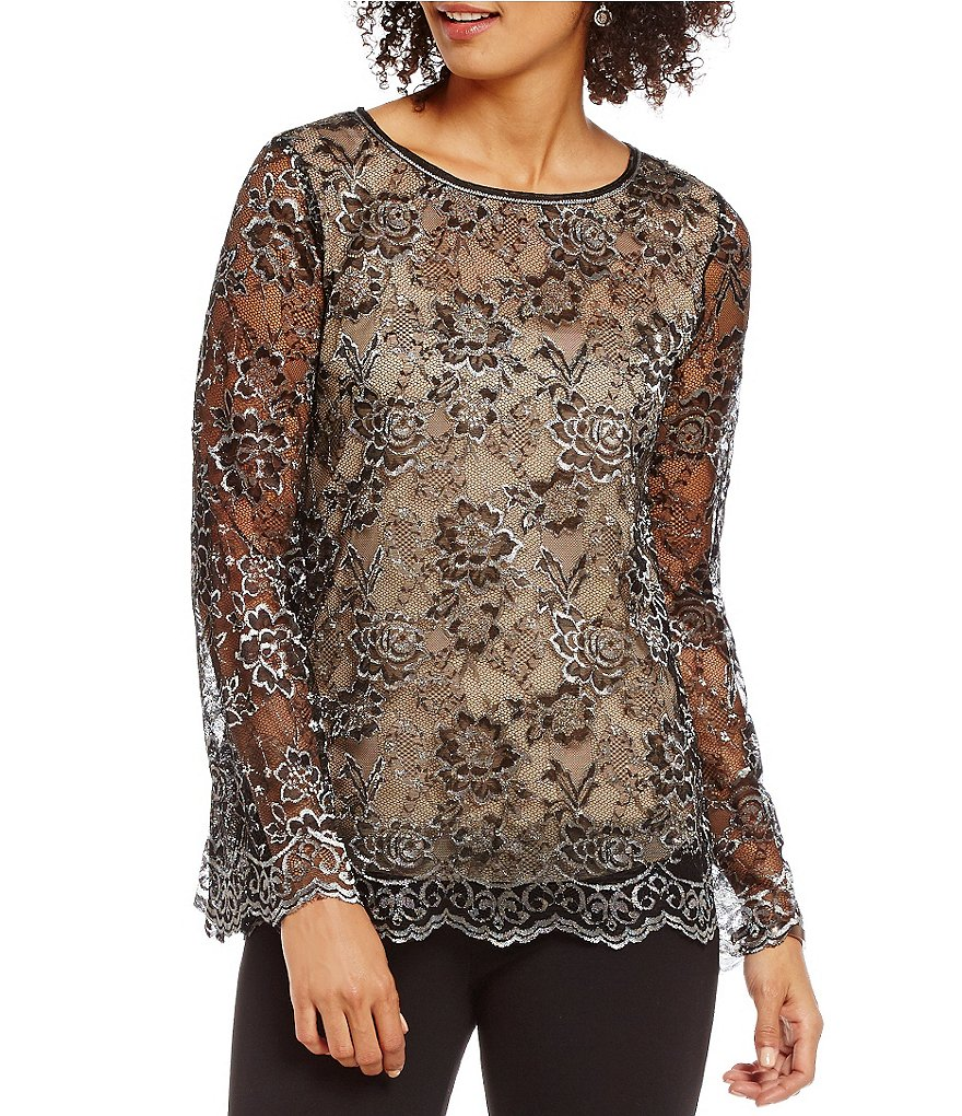 M.S.S.P. Metallic Floral Lace Blouse