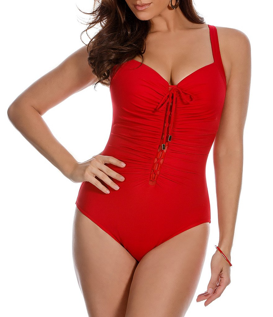 Miraclesuit Solid Making Waves Rivage Lace-Up One Piece
