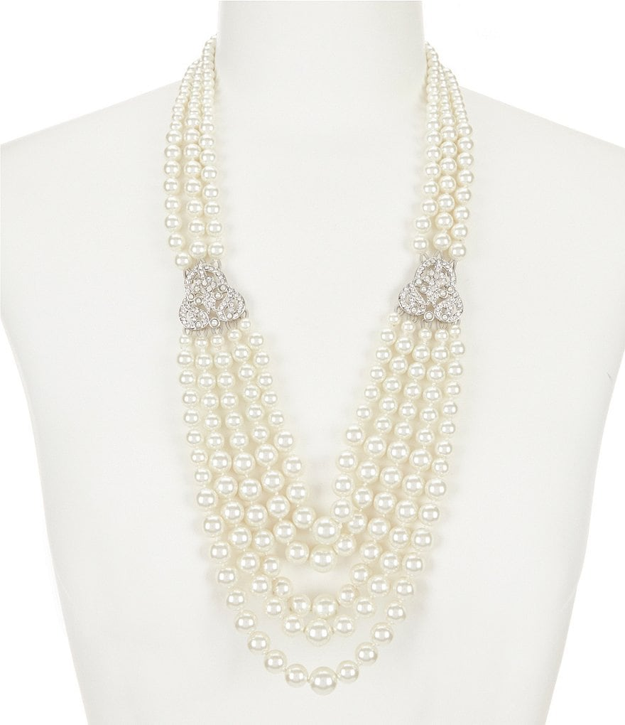 Belle Badgley Mischka Vintage Faux-Pearl Statement Necklace