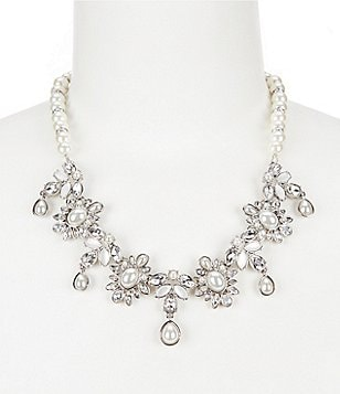 Belle Badgley Mischka Faux-Pearl & Crystal Necklace