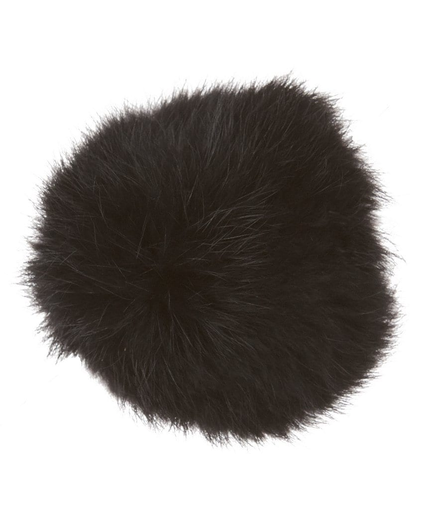 Copper Key Rabbit Fur Pom-Pom Hair Clip