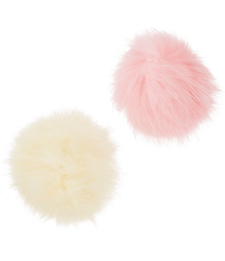 Copper Key 2-Pack Genuine Rabbit Fur Pom-Pom Hair Clips