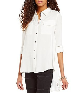 Tru Luxe Jeans Hi-Low Point Collar Long Roll-Tab Sleeve Shirt