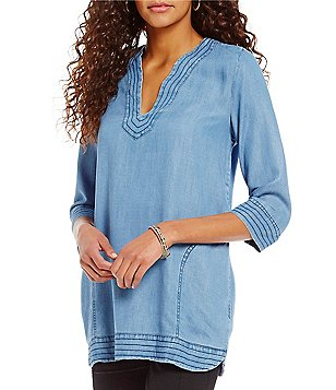 Tru Luxe Jeans Stitch Detail V-Neck Tunic