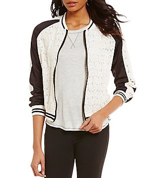 Jolt Long-Sleeve Color Block Lace Bomber Jacket