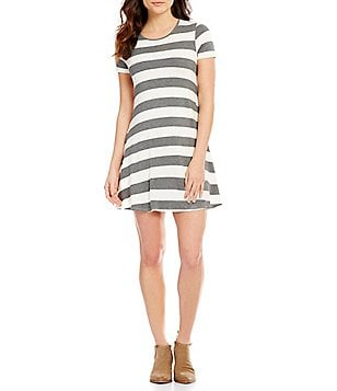 Living Doll Short Sleeve Stripe Knit Swing Dress