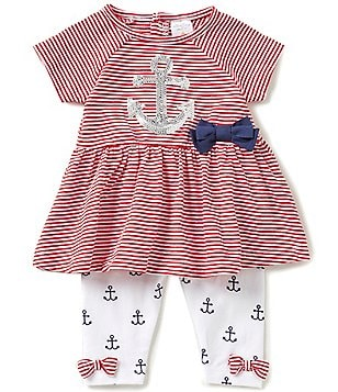 Starting Out Baby Girls 3-24 Months Sequin Anchor-Appliquéd Striped Tunic & Printed Leggings Set