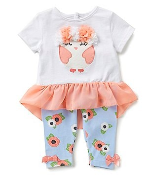 Starting Out Baby Girls 3-24 Months Owl Chiffon-Peplum Top & Leggings Set