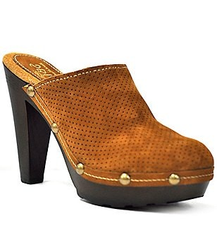 Sbicca Lettie Perforated Suede Studded Slip On Cone Heel Clogs