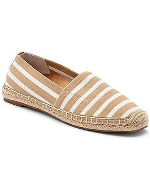 Vionic Coast Valeri Striped Stretched Textile Jute Wrapped Slip On Espadrilles