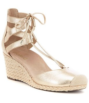 Vionic Aruba Calypso Metallic Leather Lace-Up Wedge Espadrilles