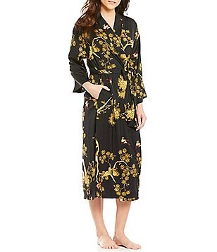 N by Natori Blissful Forest Satin Wrap Robe