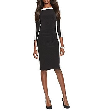 Lauren Ralph Lauren Two Toned Bateau Neck 3/4 Sleeve Dress