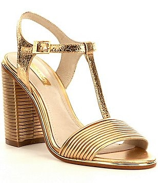 Louise Et Cie Gabbin Metallic Leather T-Strap Block Heel Dress Sandals