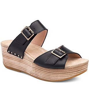 Dansko Selma Leather Double Banded Buckle Detail Wedge Slide On Sandals