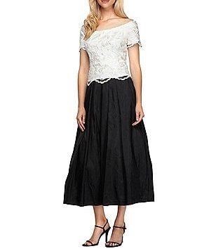 Alex Evenings Off-The-Shoulder Scalloped Bodice Tea-Length Mock 2-Piece Dress