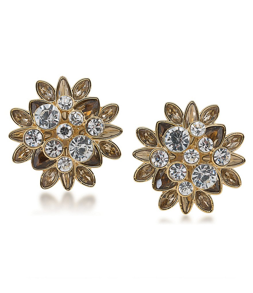 Carolee Metropolitan Club Stone Cluster Clip-On Earrings