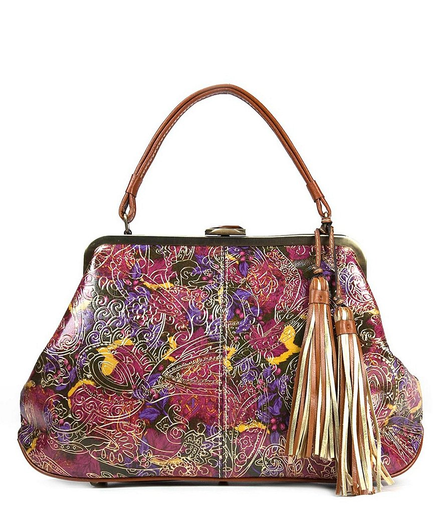 Patricia Nash Metallic Paisley Collection Macerata Frame Satchel