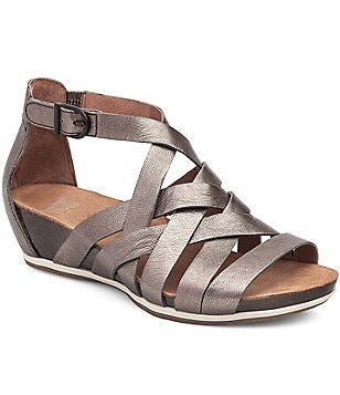 Dansko Vivian Metallic Leather Criss Cross Banded Gladiator Sandals