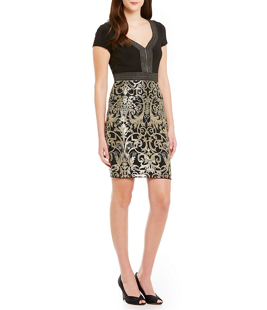 Adrianna Papell Short-Sleeve Metallic Lace Dress