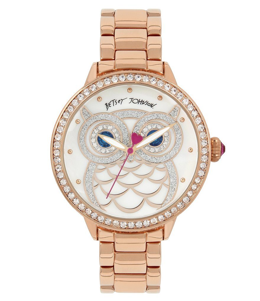 Betsey Johnson Glitter Owl Bracelet Watch