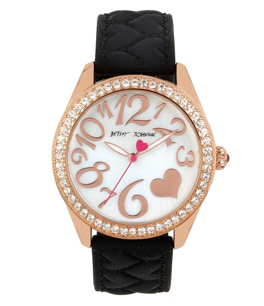 Betsey Johnson Heart-Textured Silicone-Strap Watch