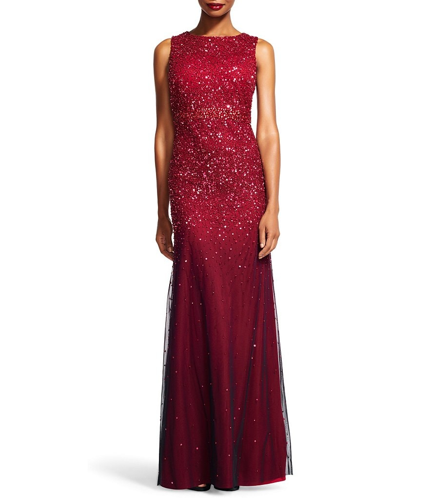Adrianna Papell Sleeveless Beaded Mesh Ombre Gown