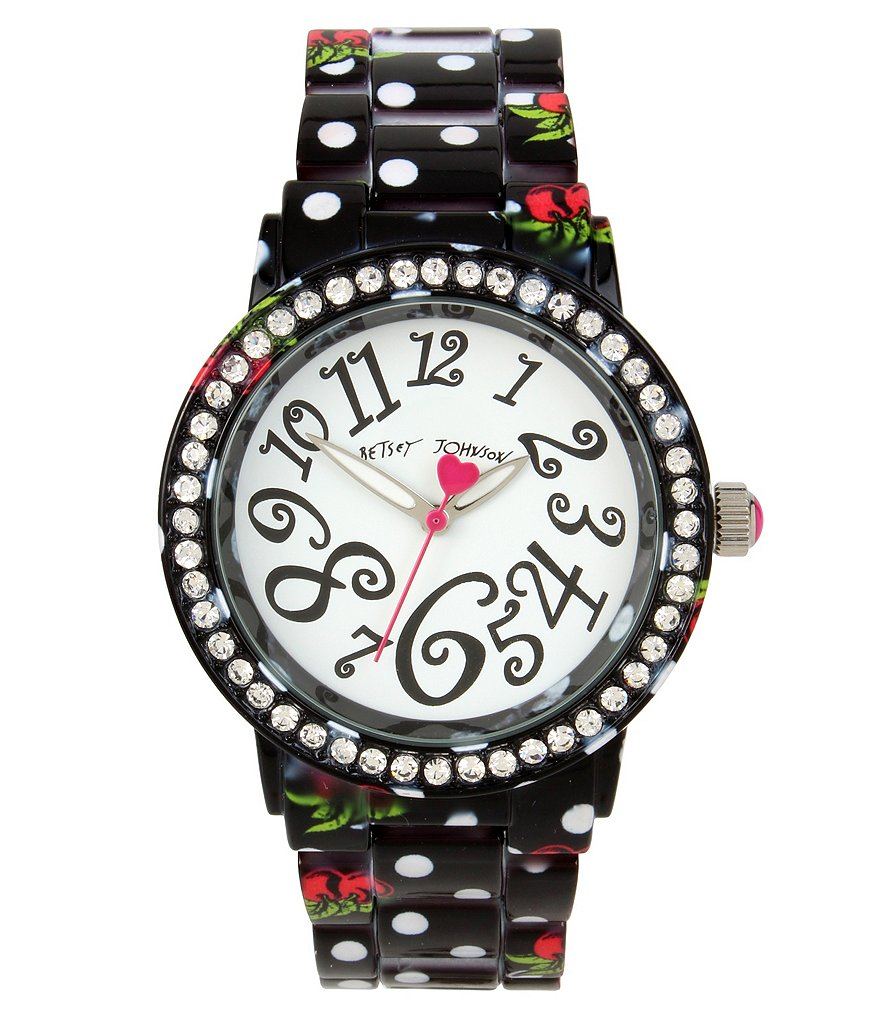 Betsey Johnson Cherry & Polka Dot Case & Bracelet Watch