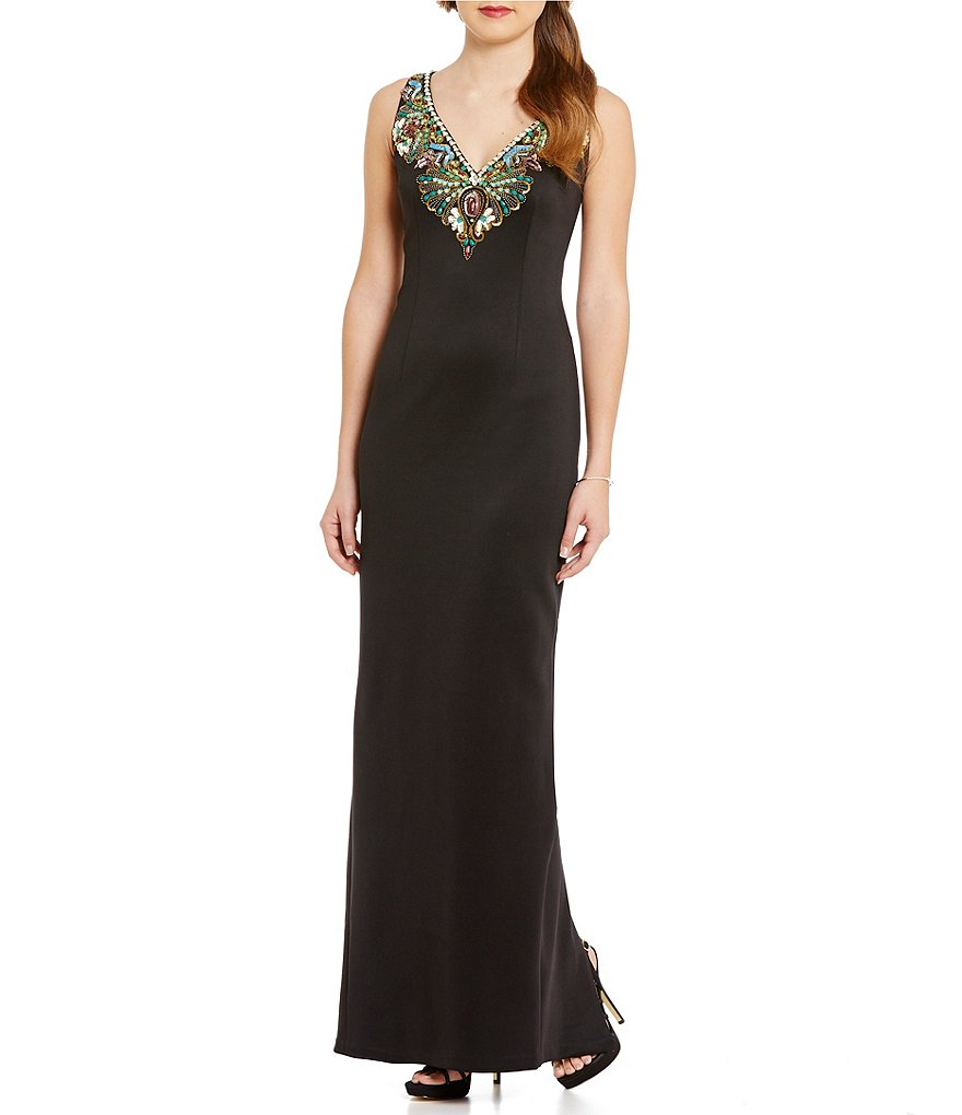 Adrianna Papell Sleeveless V-Neck Beaded Column Gown