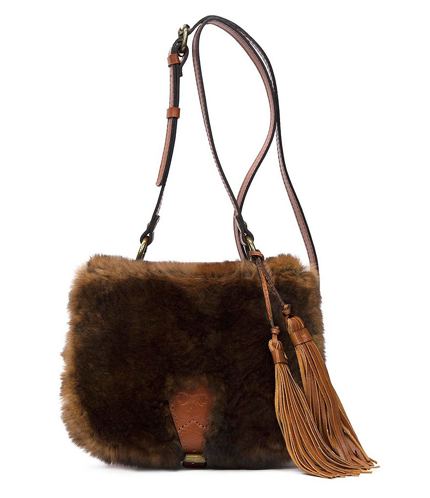 Patricia Nash Natural Rabbit Collection Karisa Tasseled Fur Saddle Bag