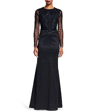 Adrianna Papell Long Sleeve Beaded Taffeta Mermaid Gown