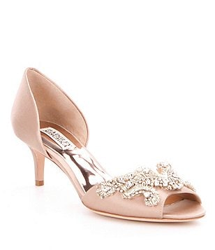 Badgley Mischka Barclay Satin d´Orsay Slip-On Stone Detail Peep-Toe Pumps
