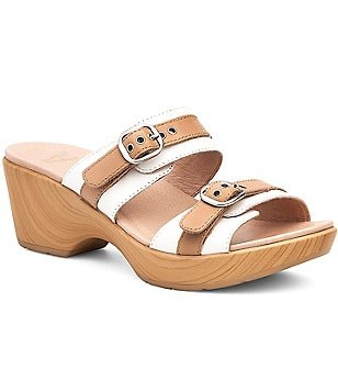 Dansko Jessie Two Toned Leather Buckle Detail Double Banded Slip On Sandals