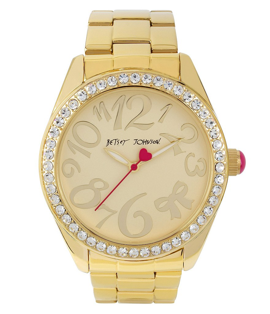 Betsey Johnson Crystal Analog Bracelet Watch